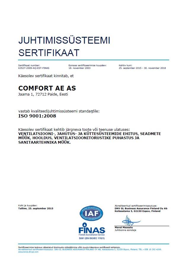 Juhtimissüsteemi sertifikaat 2015