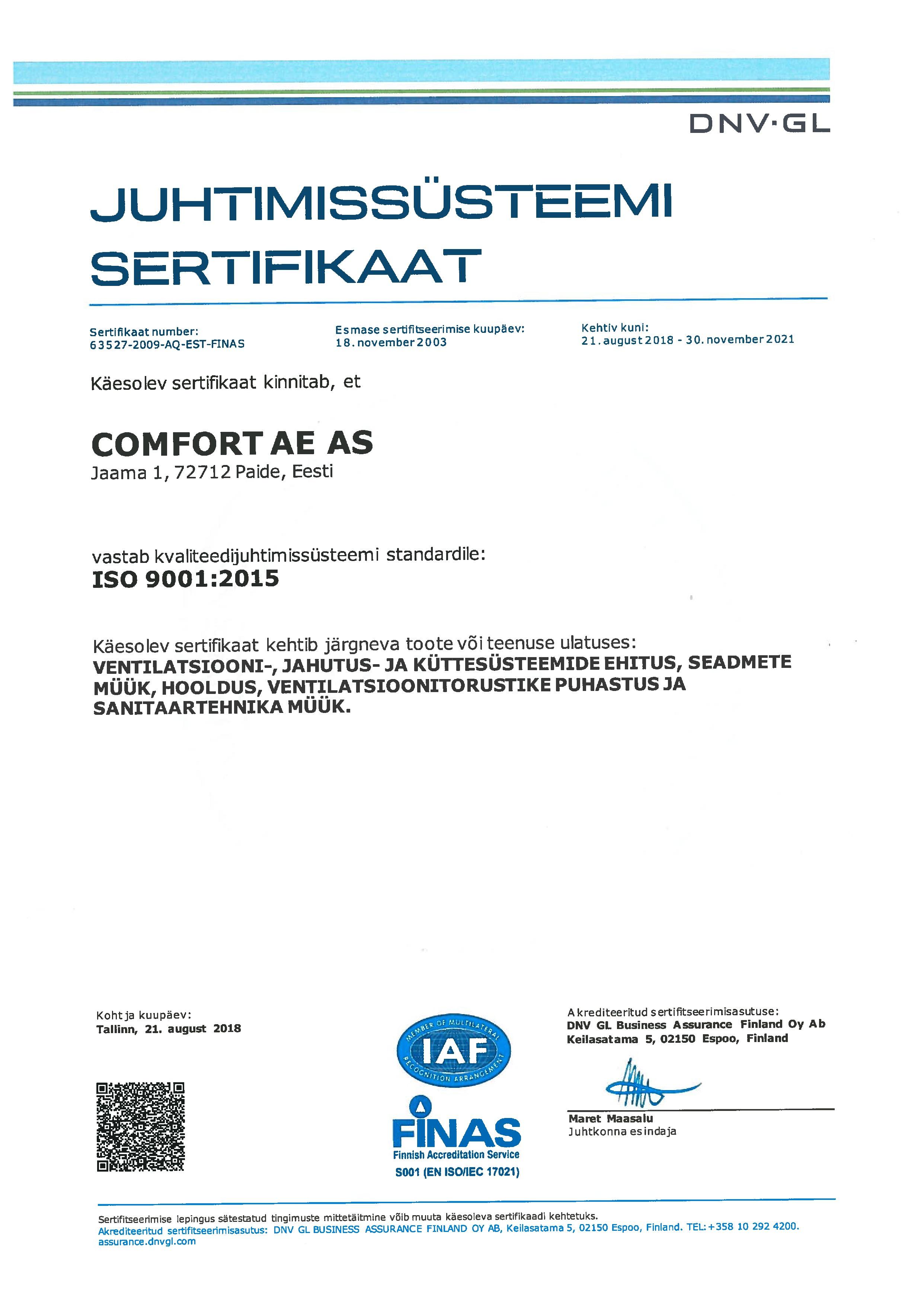 Juhtimissüsteemi sertifikaat 2018